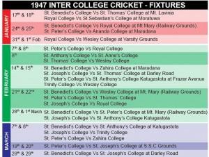 1946 Schools Cricket - fixture