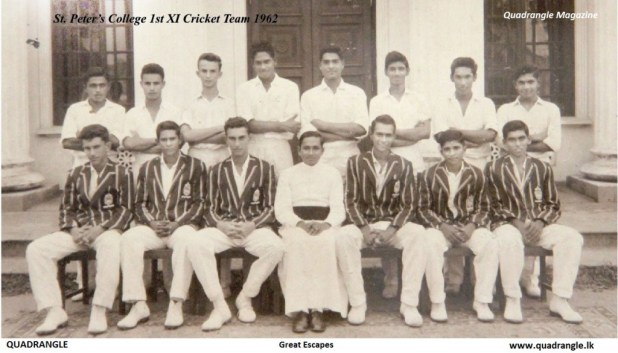 Standing, left to right, D. Parameswaram, Clifford Bartlett, Franklyn Bowen, Rohan Abeysundera, Kevin Ruberu, Ravi Fernando, Christopher Harridge, Adithiya de Silva Seated, left to right, David Heyn, Maurice Deckker, Richard Heyn (Capt), Fr Rufus Benedict (POG), Tyrone Le Mercier, Tissa Jayaweera, Travice Fernando