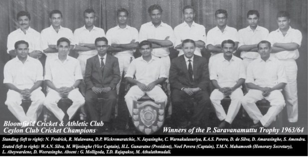 Champion Bloomfield Cricket team 1964