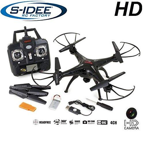 s-idee 01541 Quadrocopter X5C Forscher Syma X5C HD Kamera mit Tonaufzeichnung mit Motor-Stopp-Funktion und Akku Warner 360/° Flip Funktion Nachfolger vom Syma X5 2.4 GHz 4-Kanal 6-AXIS Stabilization System weiss