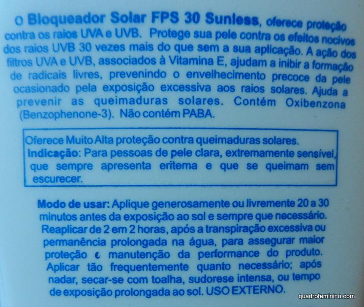 Protetor Solar Sunless FPS 30 Farmax