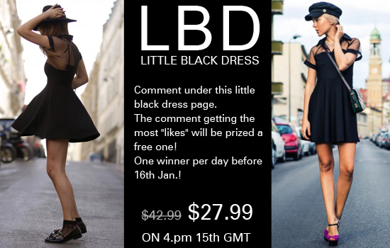 Romwe Little Black Skater Dress