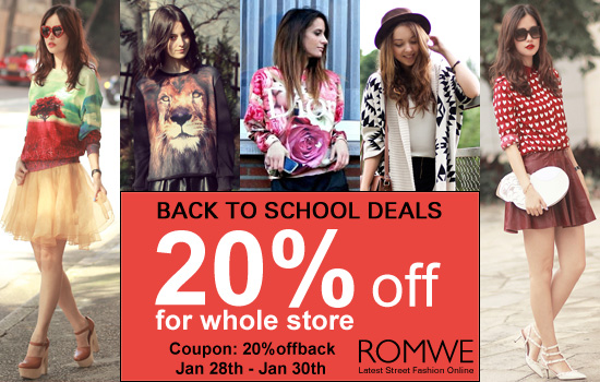 Romwe back to school deals