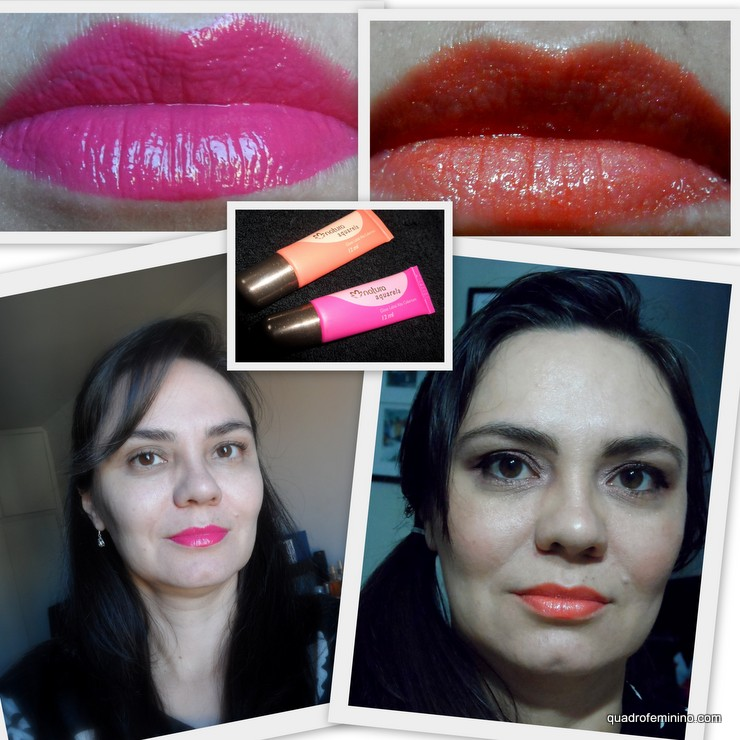 Gloss labial alta cobertura Natura Aquarela - Rosa Pink e Laranja