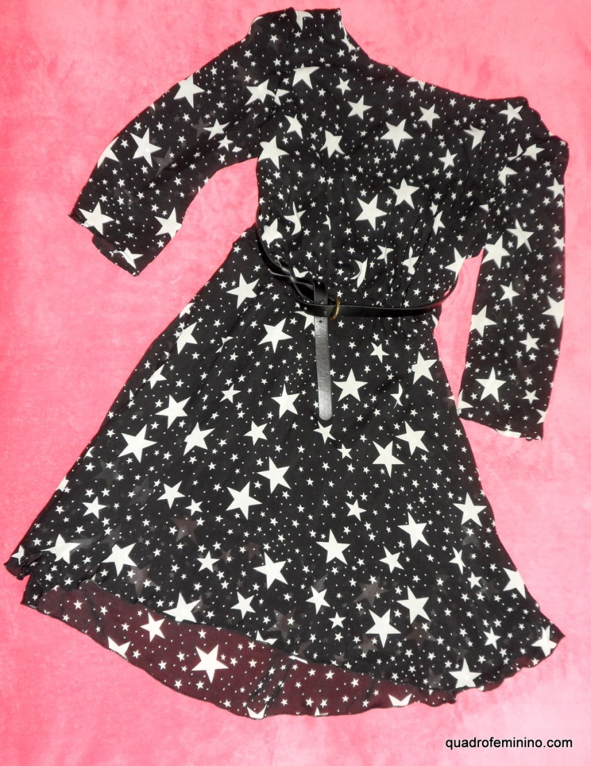 Buttoned Half Sleeves Stars Print Black Dress - Romwe