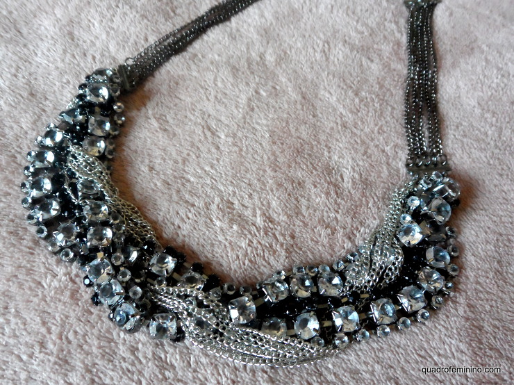Diamante Embellished Necklace Romwe