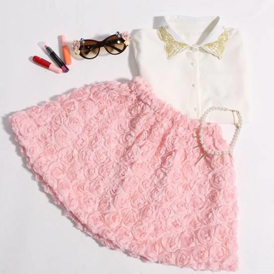 Pink Skirt - Roses - Romwe