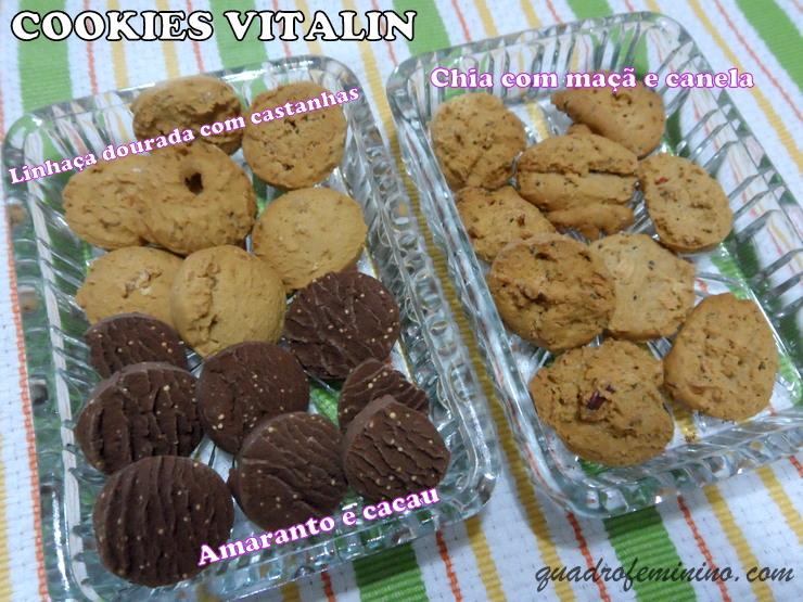 Chia com Maçã e Canela, Linhaça Dourada com Castanhas e Amaranto com Cacau - Cookies sem glúten Vitalin