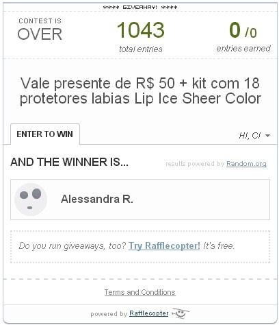 Resultado Sorteio - Vale presente de R$ 50 + 18 protetores labiais Lip Ice Sheer Color