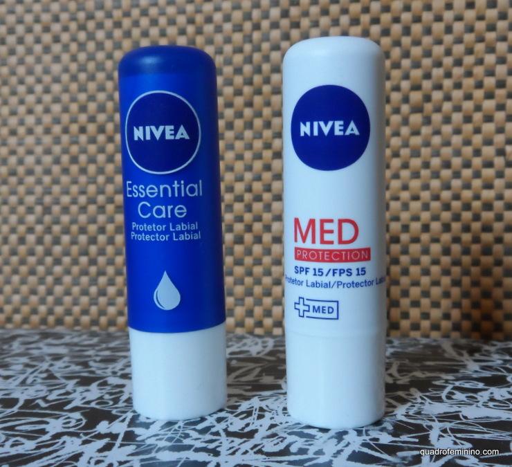 Protetor Labial Nivea Essential Care e MED Protection