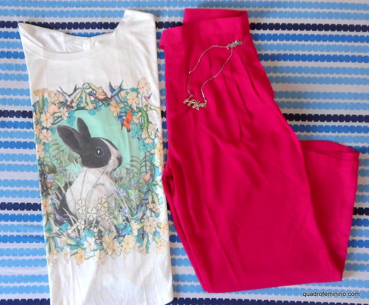 T-shirt Coelho e Pantalona Pink Romwe