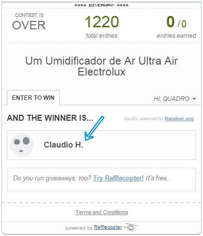 Resultado - Sorteio Umidificador de Ar Ultra Air Electrolux (Vencedor)