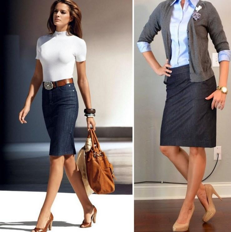 Como usar saia jeans - lápis -formal