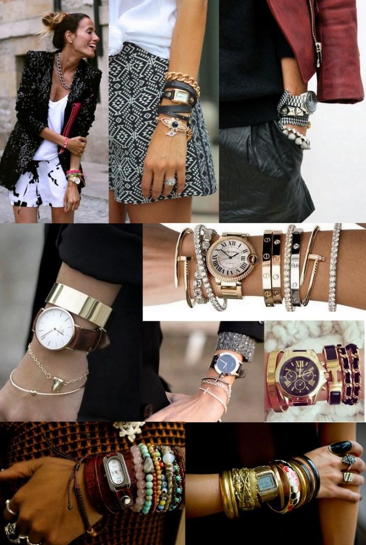 mix de relógio com pulseiras