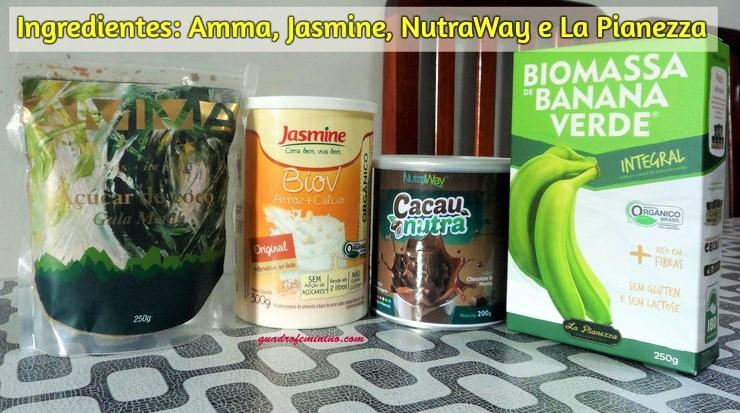 Ingredientes-açúcar de coco AMMA- bebida de arroz Jasmine - cacau com menta Nutraway e Biomassa de banana verde La Pianezza