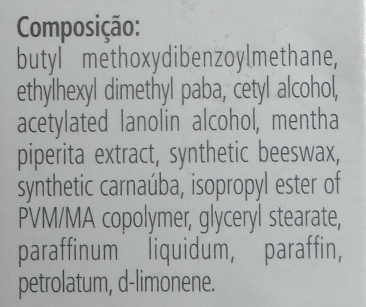 Composição - SunMax Protetor Labial