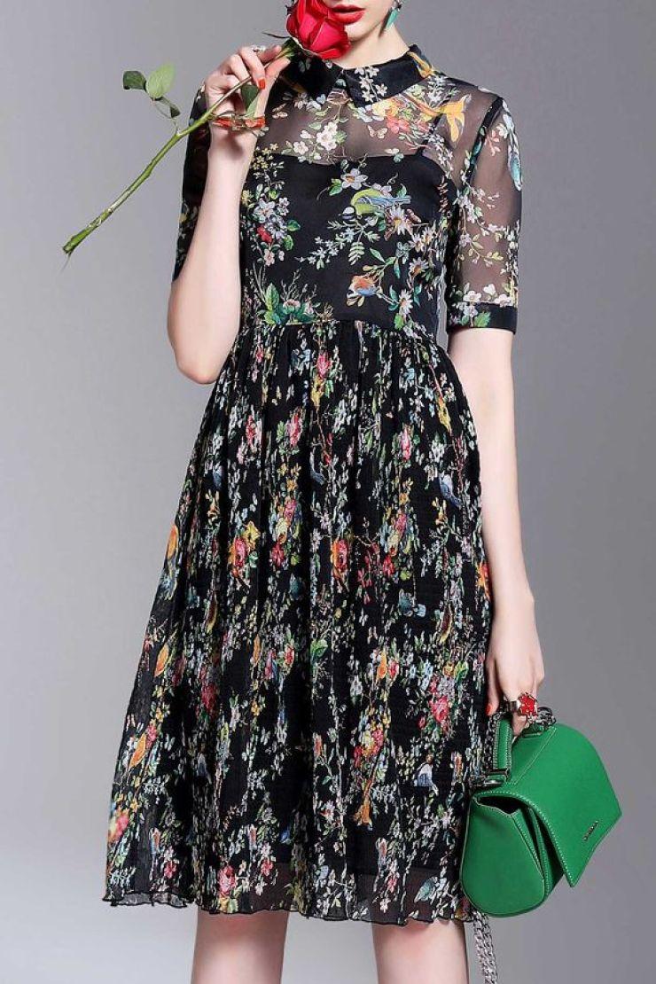 Dezzal-vestido floral com colarinho e transparência