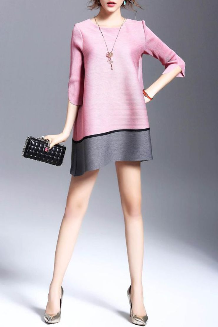 Dezzal - vestido trapézio color block