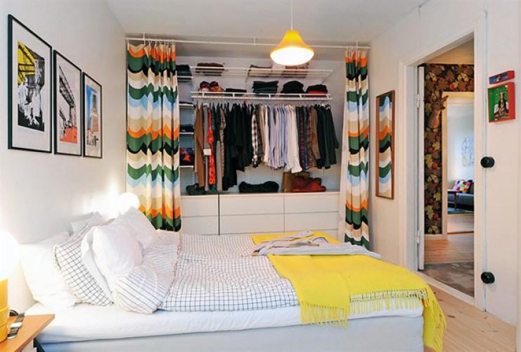decoracao closet com cortina