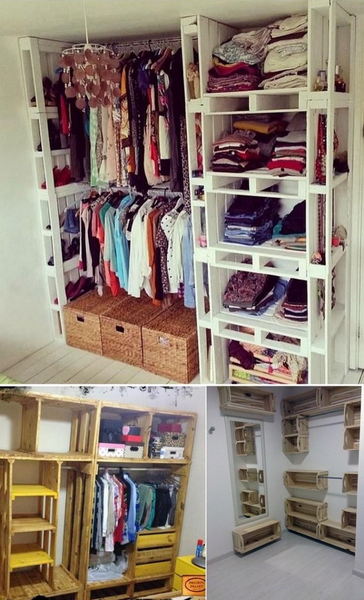 mini closet com paletes e caixotes