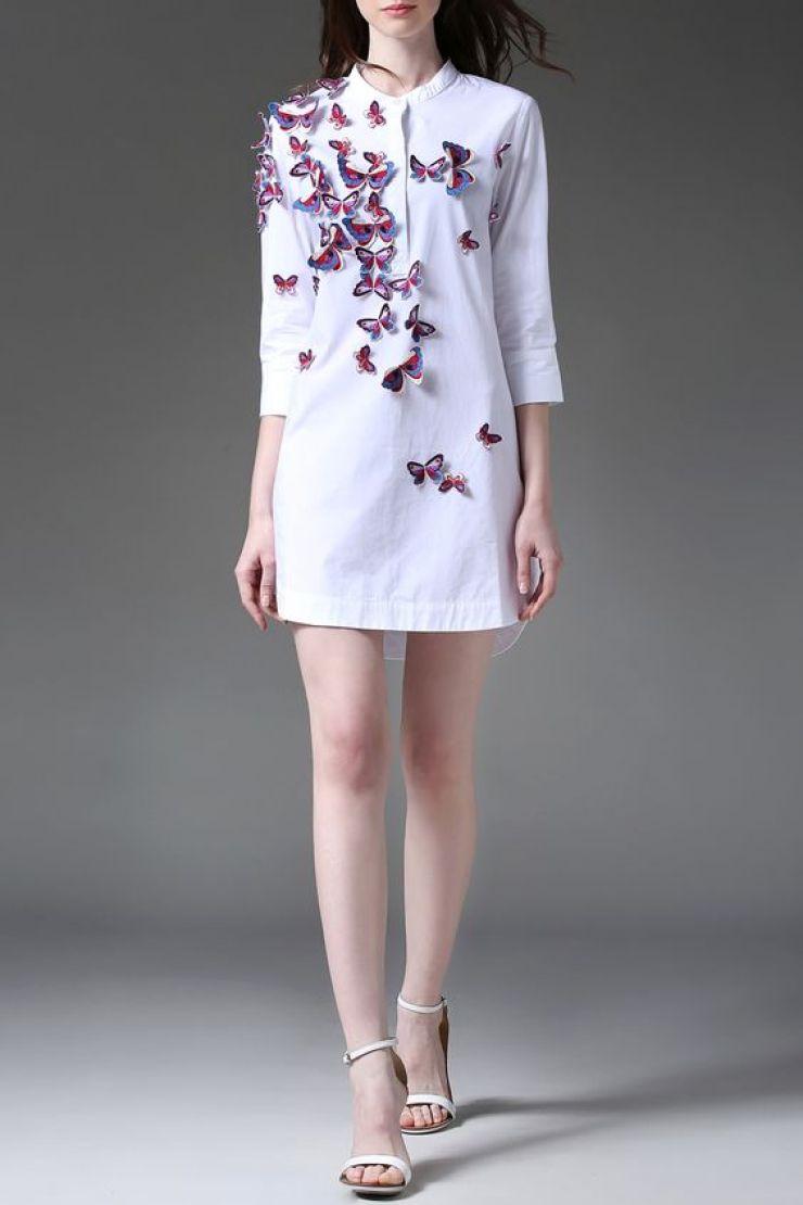 vestido chemise com borboletas 3D-Dezzal