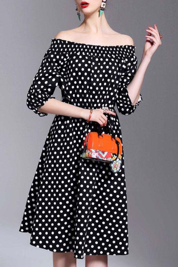 vestido de bolas com ombros à mostra Dezzal