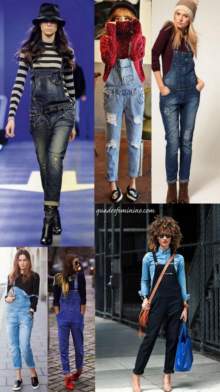 macacão jeans - Looks de inverno