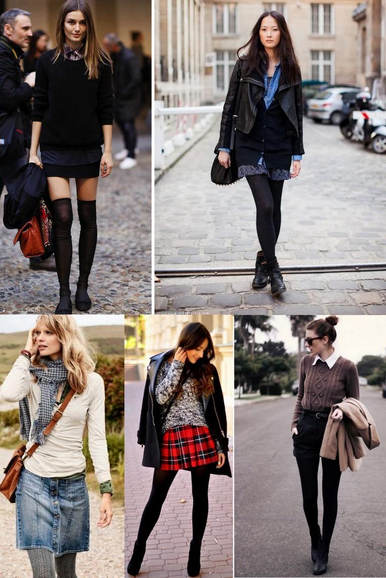 shorts - mini saias -sobreposições no inverno