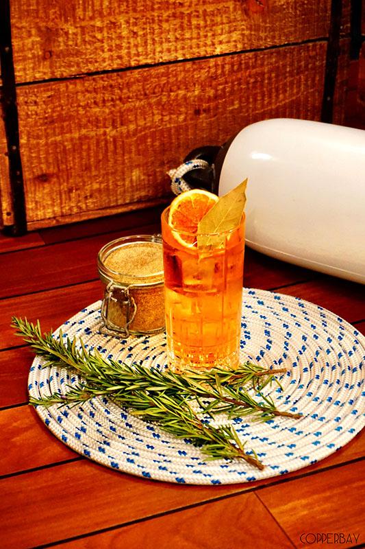 Summer: Lillet origan, Aperol, Ratafia bois d'oranger, Cidre