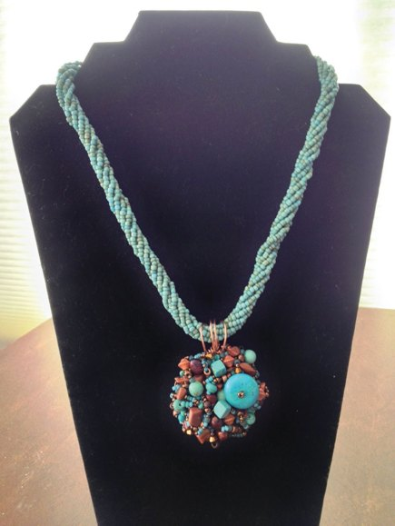 Sherry Royer's turquoise and copper pendant