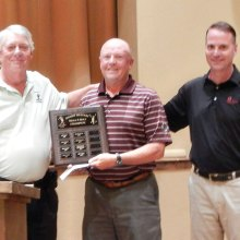 From left: Desert Duffer President Frank Hewitt, 2015 Club Champion Bill Vollink and Quail Creek Golf Pro Joel Jaress