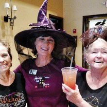Left to right: Dee Waggoner, Judy Hayes and Nancy Jacobs were ready to celebrate Halloween after the Lady Putters luncheon on October 28. Photo by Sylvia Butler