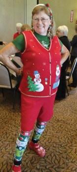 Jan Topolski sports Christmas attire.