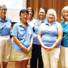 Left to right: Putters President Cathy Thiele congratulates JoAnn Nash, Monica Karpowicz, Lynda Pilcher, Shirley Johnson and Lois Williams who each achieved scores of 36 and lower for the first time in their Putters careers; photo by Neila Kozel