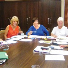Rally Committee busy making plans for the November event, left to right: Cheri Sipe, Shirley Gray, Sharon Paxon, Gail Phillips, Carolyn McBride, Bonnie Smith and Cathy Thiele