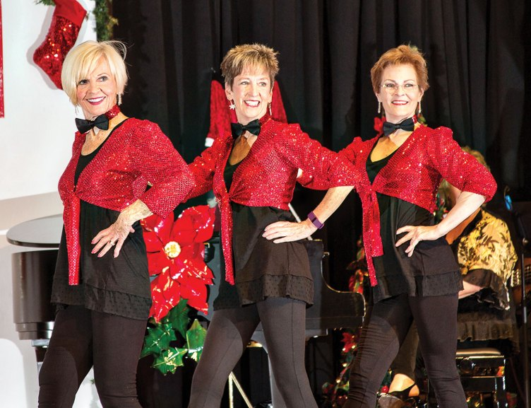 The 2015 PAG Christmas Show was enjoyed by a sold-out audience. Performing here (from left) are Sandy Boyer, Beth Davis and Deb Migdalski; photo by Jeff Krueger.