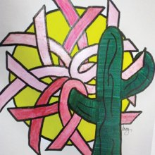 Kandi Roy created the stained glass design with the rising sun providing a background for the breast cancer ribbons all held in the arms of a Saguaro.