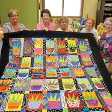 Left to right: Linda Lentz, Marge Swim, Ann Nease, Carol Bisio, Judy Spencer and Marjorie Mitchell. Not pictured, but who worked on the quilt: Pat Neel, Rosie Epler, Jeanne Stevens, Wanda Martin, Kris Wollard, Andrea Drake, Carol Lang, Elizabeth Heintz, Lyn Percy, Sally Trent, Deb Migdalski, Kay Robinson and Linda Surmacewicz.