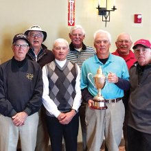 Front row: Jim Hart, copper flight winner; Tom Fischer, silver A winner; Bob Ford, club champion; Jim Cooley, silver C winner; Paul Simpson, super senior champion Back row: Jerry Bisping, silver F winner; Ron Turner, silver E winner; Tim Phillips, silver D winner and Tom Brennan, silver B winner