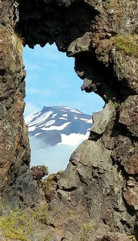 Larry Michael's third-place photo, Iceland Lava Window