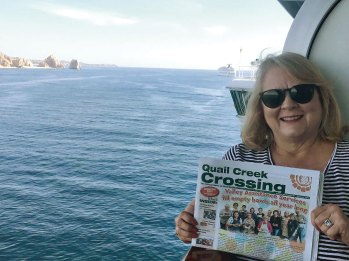 Sailing away on the Ruby Princess to Cabo San Lucas were Jeff and Becky Ashin with their issue of the Crossing.