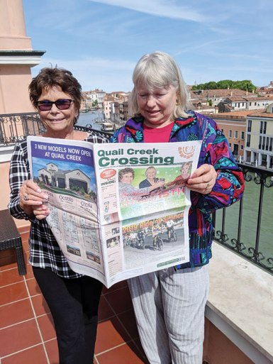 Diana Isaia and Suzan Bryceland stopped to enjoy the Crossing during their recent trip to Venice.