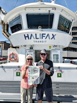 Judy and George Mynatt read their Crossing copy while tripping through the maritime provinces of Canada.