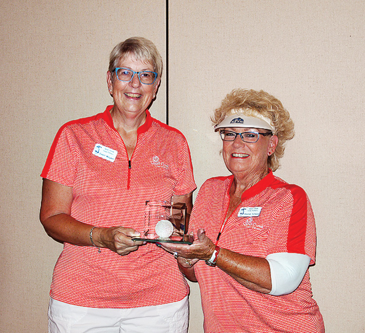 Left to right: Janet Wegner received the crystal ball plaque from Sharon Schoen for most holes-in-one. Photo by Sylvia Butler.