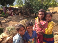 Children from the nearby Dalit settlement