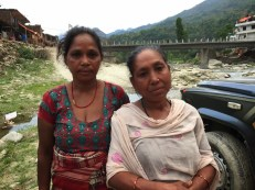Kamala Sunar (left) is a single mother of three children. Kanchi Maya Nepali (right) is a window who is taking care of her grandchildren. These women, both from the Dalit community, are living in tents not far from the camp, but tend not to fall under the purview of relief groups that come to aid people in the campsites. We provided them NPR 1000 each to buy cooking pots.