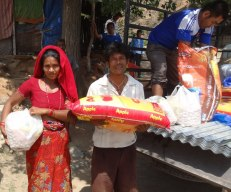 Essential rations for Dalit families in Chapadi village, Ramechhap (each household received a 30kg bag of rice along with lentils, soybean nutri-nuggets, salt and oil)