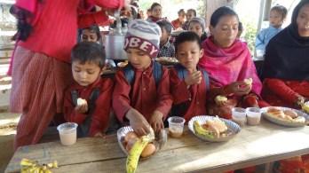 Kids taking snacks