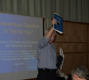 Curt Torell making conscientious objection presentation