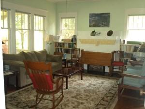Quaker House living room where we hold Sunday worship.